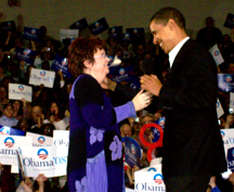 PACG President Cathy Bolcom greets presidential candidate IL Senator Barack Obama at Rally in Davenport, IA